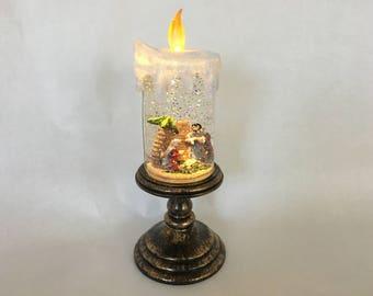 Bethlehem Lights Battery Op. Holiday Scene Pedestal Candle