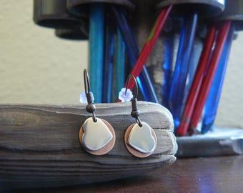 Silver Heart with Copper Disk, Dangle Earrings