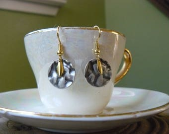 Gold Flake with Textured Silver Disk, Dangle Earrings