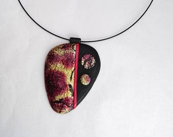 Polymer pendant necklace and its red inks / purple / yellow