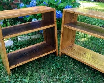 Reclaimed Oak Bookcase End Tables