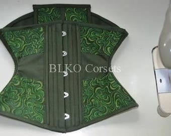 Corset Waist Cincher Horizontal Green Tight lacing Waist training
