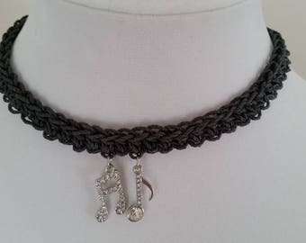 Noteworthy - Crocheted hemp necklace with music note charms