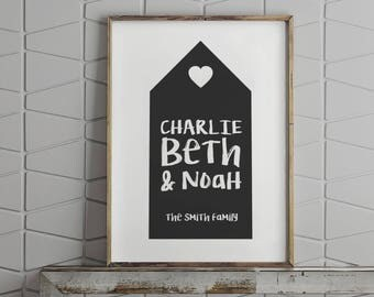 Personalised family home print // family gift for Christmas // custom colours // family names // new home gift // gift for parents