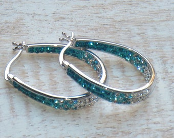 Boho Chic Australian Crystal Stainless Steel Hoop Earrings