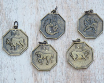 Brass Year or the Horse, Year of the Dog, Year of the Pig, Year of the Ox or Year of the Rat Double Sided Yin Yang Charms