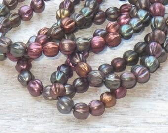 6mm Czech Glass Melon Beads Metallic Mix  (25pcs) -Fluted- Czech Glass Beads