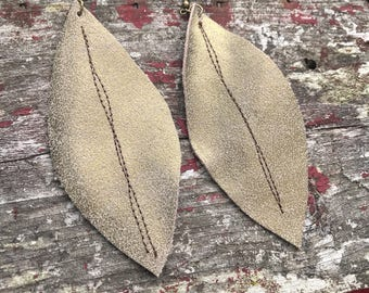Rustic Gold Leather Feather Earrings