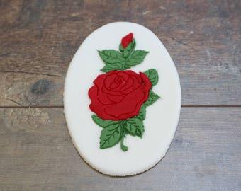 Rose Edible Cake Topper for Mum Girlfriend Ladies Birthday Anniversary