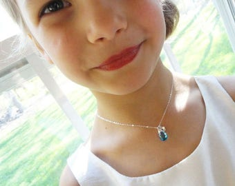 Children's Personalized gemstone necklace, daughter gift, kindergarten, first day of school, birthstone and initial necklace, Otis B, silver