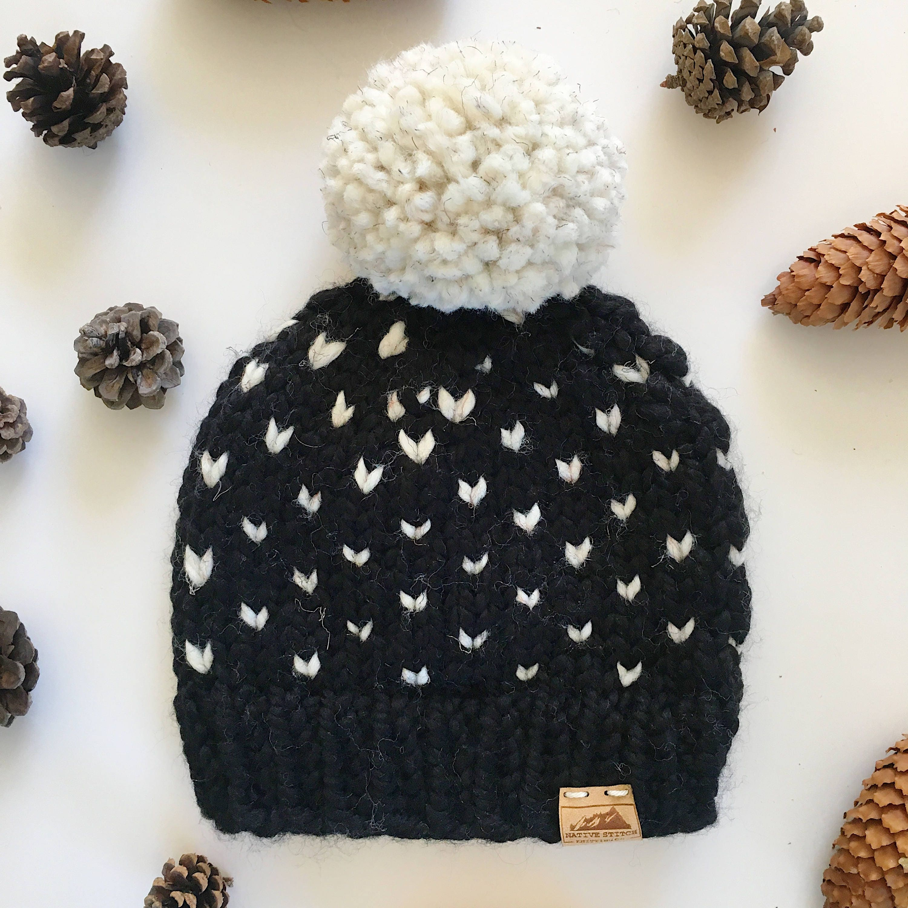 Mountain Hearts Hat- Child- Black/Wheat || Fair Isle Hat || Knit Hat ...