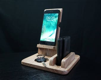 chargin station, docking station, charging dock, desk organizer, anniversary gifts for men, charging station organizer, iphone stand