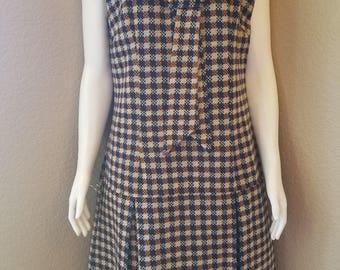 Vintage 1960's Kenny Classics Mod Plaid Sleeveless Shift Dress Size 14