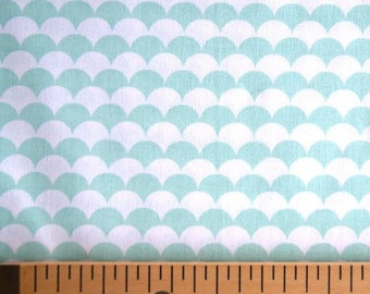 Fabric white Mint scales