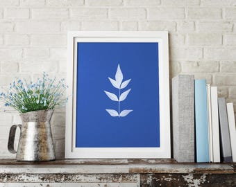 Botanical Leaf Cyanotype Art Print - Coastal Style Prints, Garden Art Print, Anna Atkins Inspired, Nature Style Art Print, Botanical Poster