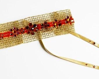 Choker gold and rust Ribbon mesh parcemé Swarovski Crystal flowers