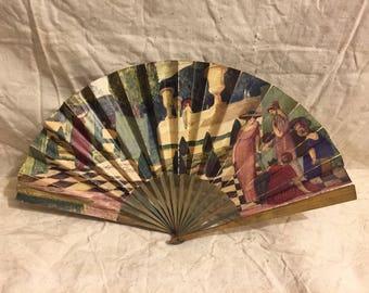 Eventail publicitaire ancien illustré par C.L.Jaulmes, parfumerie L.T. Piver & Vichy-Etat-Célestins, old paper advertising fan