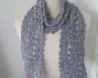 Cotton Blend Crochet Scarf - choice of blue marl or purple haze