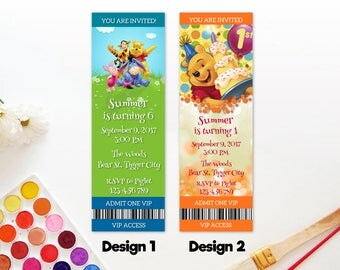 Personalized Winnie The Pooh Ticket Invitations Birthday Party Card  Tigger Piglet Eoyore First 1st Birthday Printable DIY - Digital File
