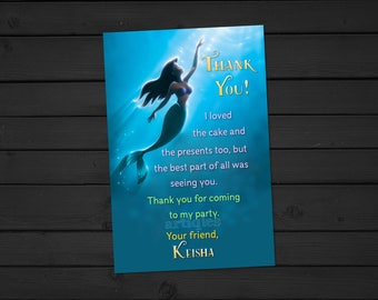 Personalized The Little Mermaid Swimming Princess Ariel Thank You Card Birthday Party Printable DIY - Digital File