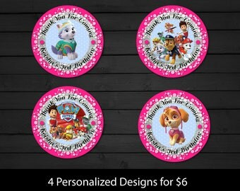 Personalized Paw Patrol Pink Cupcake Toppers Favor Stickers Birthday Party Gift Thank You Tags Skye Everest Printable DIY - Digital File