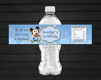 Personalized Baby Mickey Mouse Water Bottle Label Clouds and Stars First 1st Birthday Party Gold Accent Printable DIY - Digital File