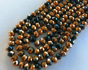 4mm Rondelle Faceted Crystal Glass Beads (Half Plated Copper & Black) - 100 pieces