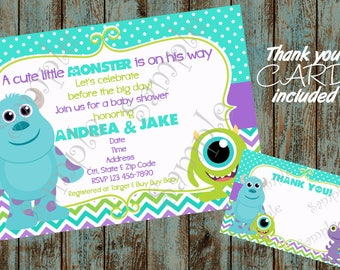 Monsters Inc Invitation, Monsters Inc Baby Shower Invitation, Monsters Inc Baby, Monsters Inc Printable Invitation, Monster Baby Shower