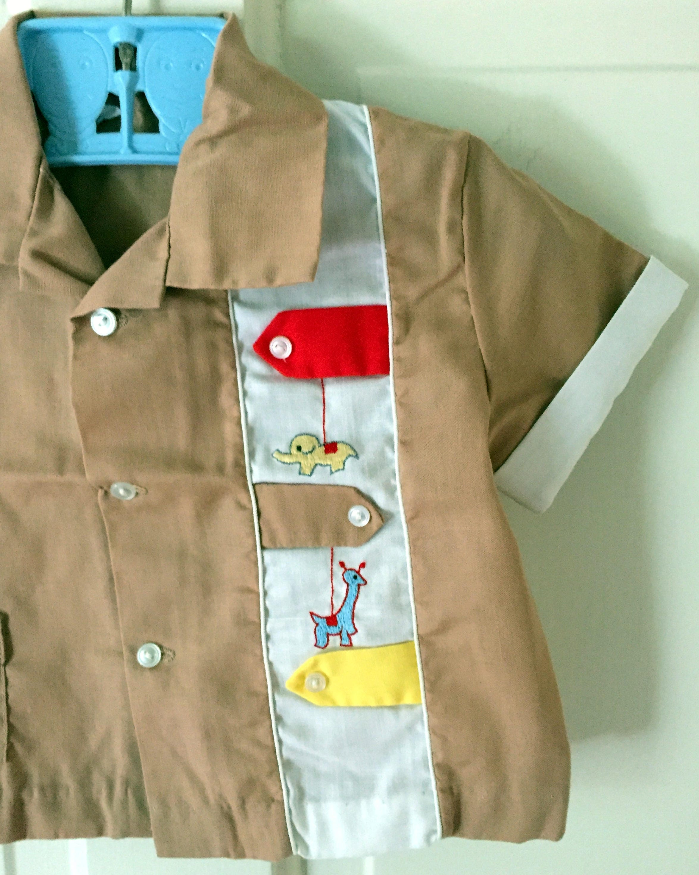Vintage Khaki Baby Boy Bowling Shirt Set with Matching Diaper Cover