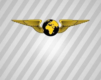 Wings Globe Silhouette - Svg Dxf Eps Silhouette Rld Rdworks Pdf Png Ai Files Digital Cut Vector File Svg File Cricut Laser Cut