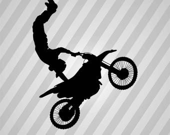 Motocross Stunt Silhouette  - Svg Dxf Eps Silhouette Rld Rdworks Pdf Png Ai Files Digital Cut Vector File Svg File Cricut Laser Cut
