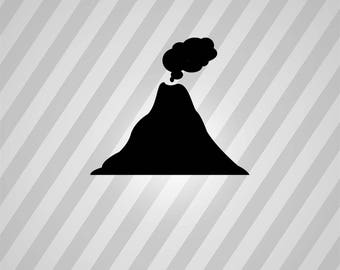 volcano Silhouette - Svg Dxf Eps Silhouette Rld RDWorks Pdf Png AI Files Digital Cut Vector File Svg File Cricut Laser Cut