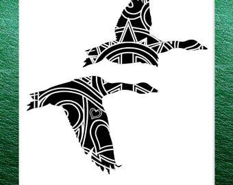 Flying Geese Papercut Template Mandala Henna - Svg Paper Cut Templates Stencil Line Art Pdf Cut Files Digital Clip Art Drawing