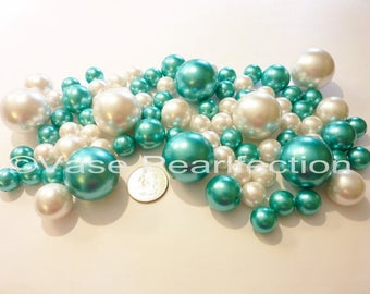 Turquoise Blue Pearls/Teal Blue Pearls and White Pearls Vase Fillers Jumbo and Assorted Sizes for Centerpieces