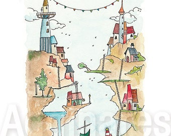 Fantasy Castle / fantasy art / whimsical / art print from an original watercolor painting