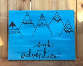 Seek Adventure // Hand Painted Canvas