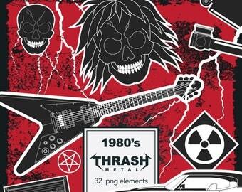 80's Thrash Metal Clipart. Heavy Metal Clipart. Hard Rock. Retro. PNG. 32 elements