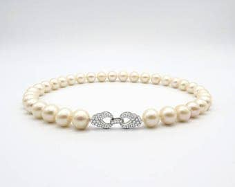 ASAMAG-Cream Pearl Necklace-12mm with 925 Silver Clasp (3cm)
