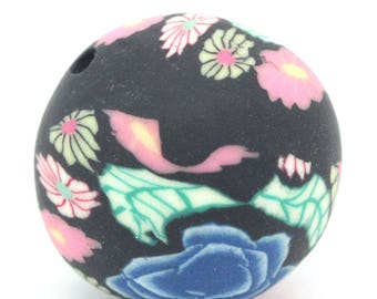 1 flower bead pattern black pink green polymer clay 13 mm