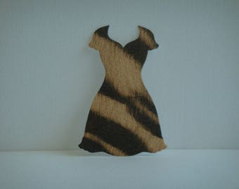 """Cut out dress """"V"""" imitation Zebra black and light brown for scrapbooking and card"""