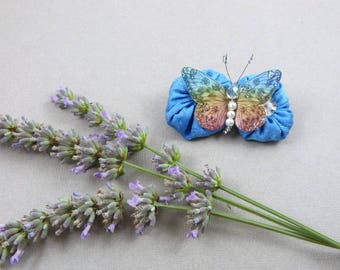 brooch trimmed with lavender blue silk flowers and Butterfly multicolored silk - Melina - made in France