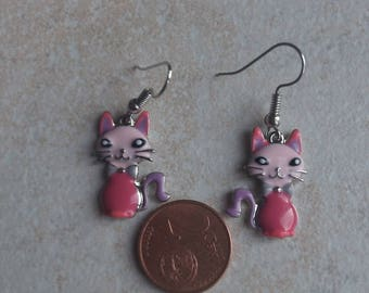 Pink cat earring
