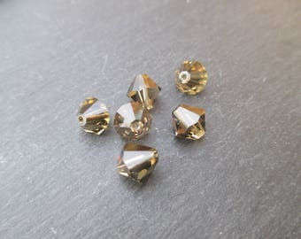 8 mm: 1 Swarovski Crystal bicone bead Smoky Quartz