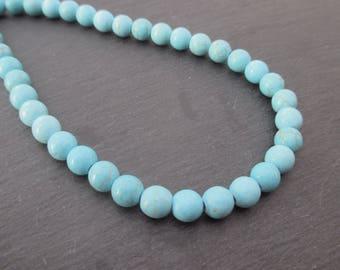 Blue dyed Howlite: 10 mm round beads 8 - precious stones blue