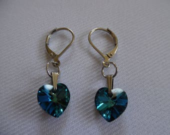Earrings hearts of blue swarovski on stainless steel lever backs.