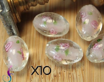 10 white murano glass beads and pink A448 14x12mm