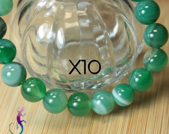 10 pearls 8mm Green agate