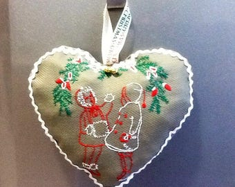 Christmas pillow cover kids heart under the tree
