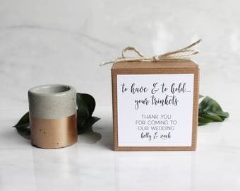"Wedding or Party Favors - Set of 10 Concrete Trinket Dish/Planter Pots - Cylinder - 2 1/4"" Tall - Custom Label - Rose Gold or Other Color"