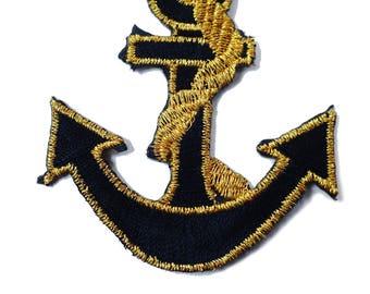 FABRIC FUSIBLE APPLIQUE: anchor black/gold 70 * 55mm